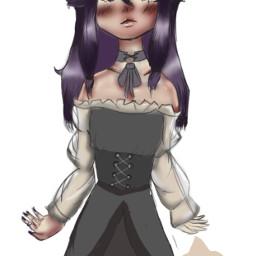 wip art heypicsart doodle goth gothaesthetic purpleaesthetic cute cutie emo myart drawing eyes chibi anime animeart outfitinspo myoc oc animeartstyle freetoedit