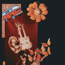 music classicrock ledzeppelin jimmypage orange orangeaesthetic blackaesthetic guitarist guitar freetoedit