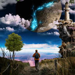 freetoedit sureal men wlaking planets space clouds nuages galaxy espace homme road chemin nature phare tree imagination manipulation