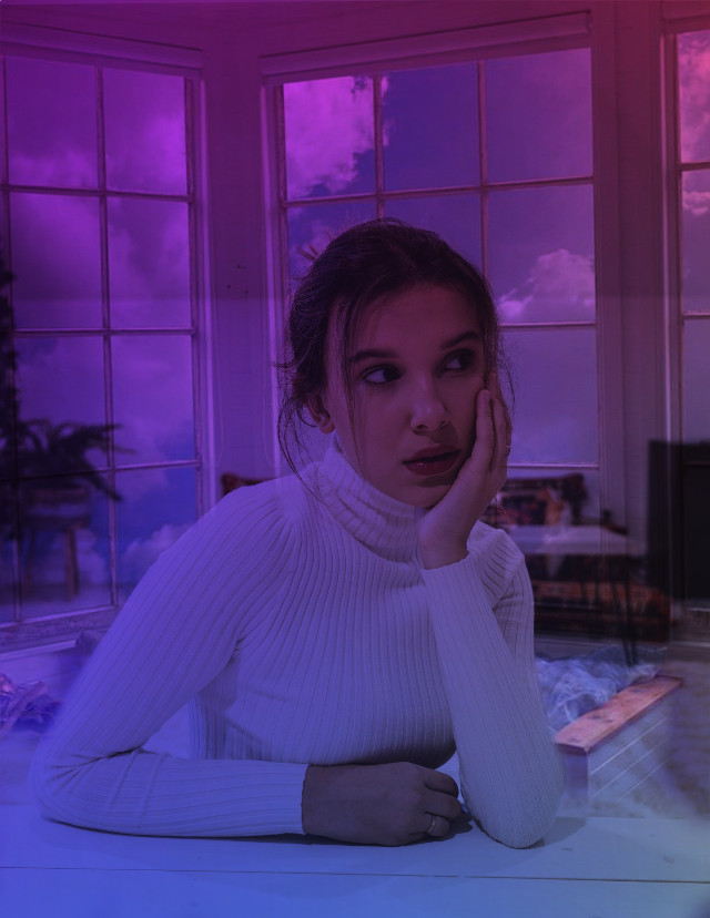 I don't really know what this is but here #freetoedit #remix   #milliebobbybrown #ledlights #aesthetic #edit #strangerthingsedit #enolaholmes #background #clouds #window