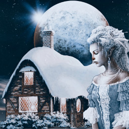 winter cottage sky girl imagine planet photo fineart graphics replay remixed freetoedit