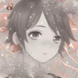 boy anime pink butterfly stars sparkles shiny rosegold blackandwhite clouds grey freetoedit
