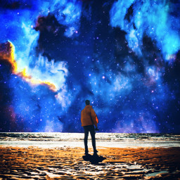galaxy man blue sky sun moon universe star space wow background backgrounds planet nature Desert alone boy youngman