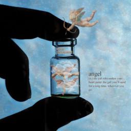 angel bottle blue aesthetic love voteme like effort freetoedit ircminimagicbottle minimagicbottle