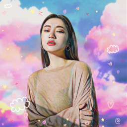 freetoedit unsplash girl woman replay aesthetic tumblr vintage sketch outline draw surreal fantasy photography background photooftheday photographer pink clouds myedit myart picsartedit cute love sky
