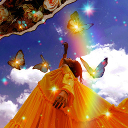 replay picsartreplay aesthetic image surreal clouds butterflys flowers glow woman dream freetoedit