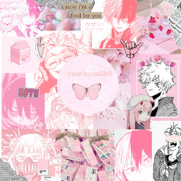 animecollage anime pinkanime pastelanime japan myheroacademia wallpaper freetoedit