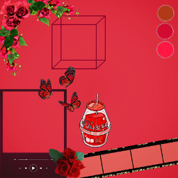 red template flowers roses butterflys frame drink redflowers redrose astheticred redasthetic freetoedit