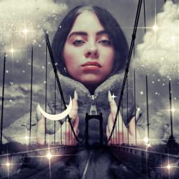 replay doubleexposure surreal moon clouds stars bridge makeawesome billieeilish freetoedit