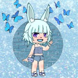 clothes animegirl blue rabbit picsart freetoedit