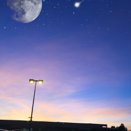 freetoedit shootingstars fullmoon moon sunset pinkclouds clouds blue purple sky madewithpicsart picsart
