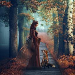 myedit madewithpicsart magical forest fantasy fairytale fairy fox picsarteffects stickeroverlay adjusttool dodgereffect freetoedit
