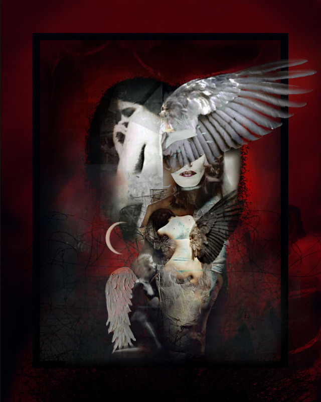 Angels among us  #surrealart #surreal #wings #angels #abstract #art #darkart #doubleexposure #overlays #moon #sticker #fx #frame #red #remixed #heypicsart #makeawesome #inspired #picsart #papicks #edit #myedit #freetoedit #remixit @picsart    *Inspired by one of my besties! 🖤 @mesechina