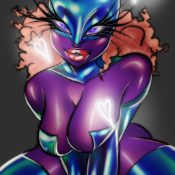 art artist myart redrsw cat catsuit latex latexsuit cute hot alien aliengirl drag dragqueen purple purpleskin digitalart digitalpainting digital freetoedit