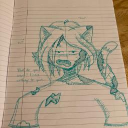 drawing zombie girl cat kitten oc zombiegirl catgirl zombiecatgirl cyan shegivesmebothdabiandshiggyvibes