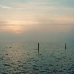 sea sunset fog mypic freetoedit