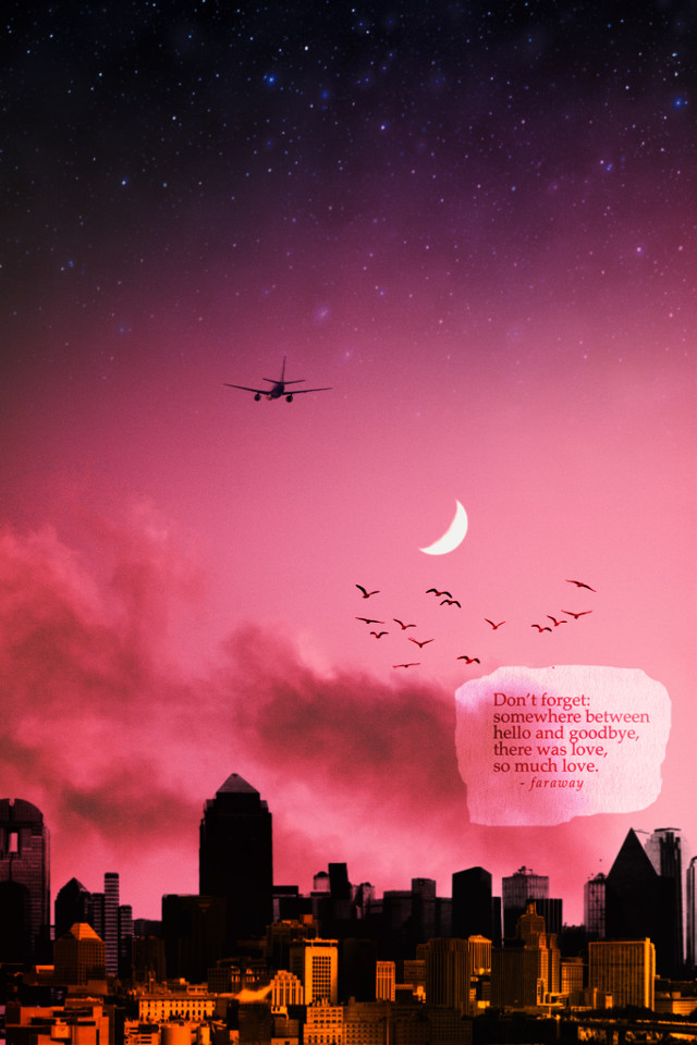 #freetoedit #editoftheday #skyline #clouds #sunset #quote #love #moon #airplane