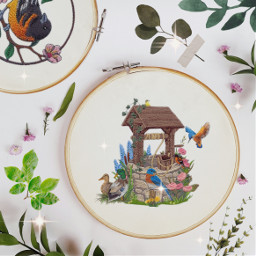 freetoedit embroidery editoftheday sewing art create well nature birds ducks flower leaves