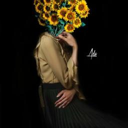 flowerhead girl girls quote sunflower background blackbackground myedit picsart heypicsart freetoedit remixit