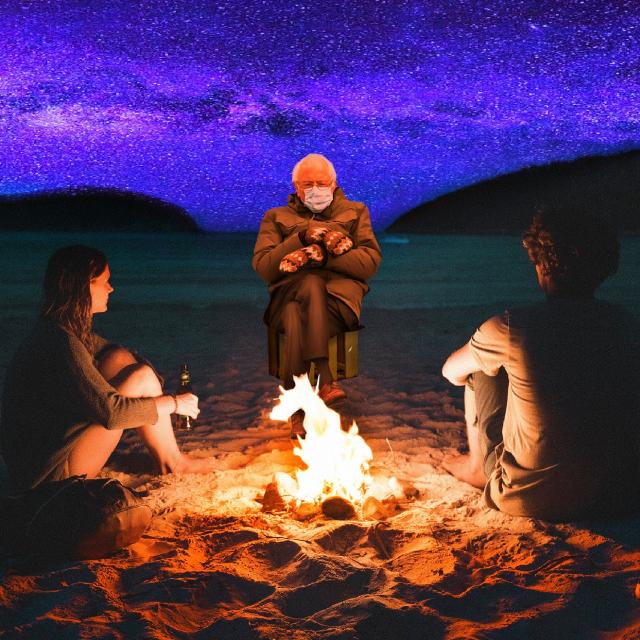 Feelin' the Bern  #campfire #fire #heat #warm #mittens #winter #winterclothes #bonfire #berniesanders #bernie #feelinthebern