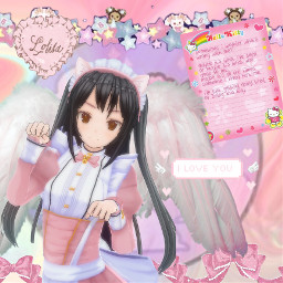sweet sweetlolita lolitagirl maid maidgirl pink pinkaesthetic pastelpink pastelpinkaesthetic hellokitty wings angelwings nya teddies bell ruffles bows pinkbow multicolor freetoedit