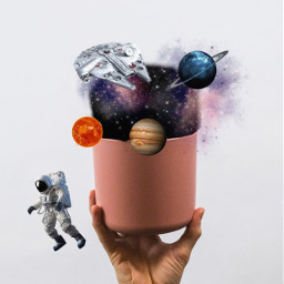 space galaxy astronaut planet hand spaceship freetoedit