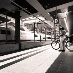 berlin hauptbahnhofberlin blackandwhite trainstation train traveltheworld bike woman freetoedit