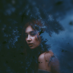 myedit girl freetoedit replay forest doubleexposure