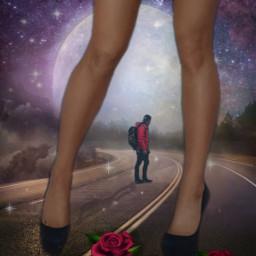 giant girl nigth moon roses freetoedit ecgiantpeople giantpeople