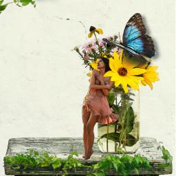 butterfly girl table watercoloreffect flower freetoedit srcbluebutterflies bluebutterflies
