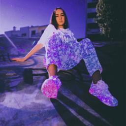 girl neon buildings purple blue freetoedit