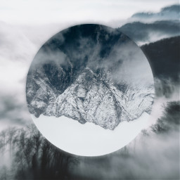 mountain snow mountains fog foggy snowy freetoedit