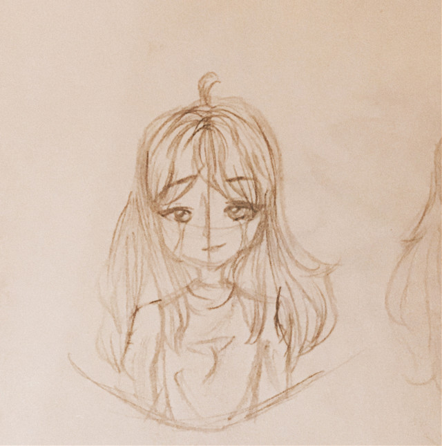 IDK  MY DAD IS COMING   INFEEL A STORM FPBREWING   AHHHHHHH  tags - #girl #oc #girloc #art #traditionalart #sketch #girl #outline #paper #pencil #sad #tears #cry not #edgy