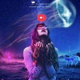 girl freetoedit glow light night deer jellyfish nightsky sky star space instamood instagram youtube photoshop lightroom heypicsart surreal visual visual_creatorz