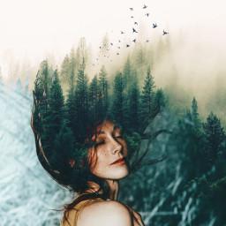 forest foggy hair woman myedit myedition picsart freetoedit