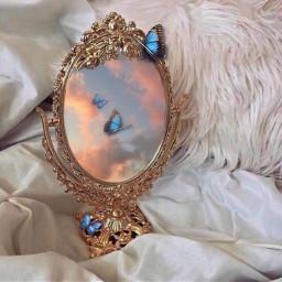 butterfly blue vintage mirror vintagemirror srcbluebutterflies freetoedit