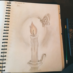 traditionalart art drawing sketch pencil paper moth flame fire inktober artchallenge artistchallenge candle
