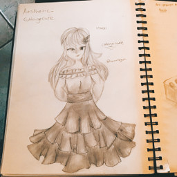 traditionalart art drawing sketch pencil paper cottagecore soft personification cottagecoreaesthetic softaesthetic outfit aesthetic dress girl girloc ocgirl ocdrawing girldrawing
