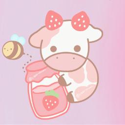 srawberry srawberrycow pink pastel pastelpink pinkaesthetic pastelpinkaesthetic bubbly_butterfly 1