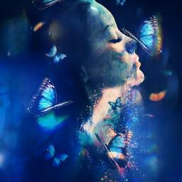 freetoedit myedit girl butterfly butterflies srcbluebutterflies