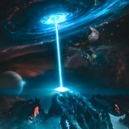 freetoedit unsplash cosmic galaxy mountain