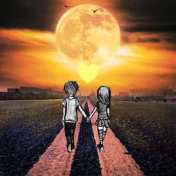yellowhearts bf gf yellow aesthetic moon sky yellowaesthetix skyaesthetic helpmewin trail path freetoedit srcyellowhearts