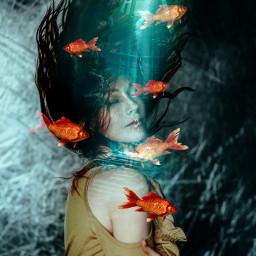 madewithpicsart picsart sea girl mermaid fish freetoedit