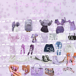 pickanoutfit niukbers letters purple outfit freetoedit