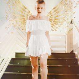 angel angelwings girl whitedress gold goldenwings fade fading sparkle stairs stairwaytoheaven heaven light freetoedit