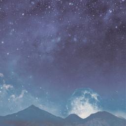 stars star space galaxy blue sky night starry beauty beautiful moon light nature mountains surreal view myedit freetoedit unsplash