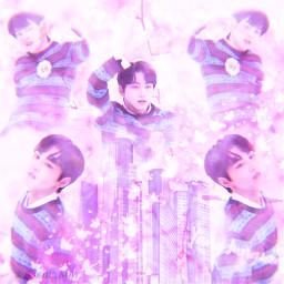 freetoedit jungwon enhypen bighit kpop aesthetic pink purple mirror glitch butterflies cute