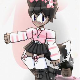 tiktok art artrequest roblox robloxart robloxavatar byronnie aesthetic pink picsart freetoedit anime remix