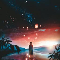 @mrizky_loveart1318 unsplash freetoedit lake reflectionsofwater reflections lanterns galaxy sunset manipulation fantasy madebyme madewithpicsart freetoeditremix