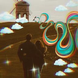 unsplash windmill rainbow wiggles cartoon clouds sparkles sticker stickers stickerremix freetoedit